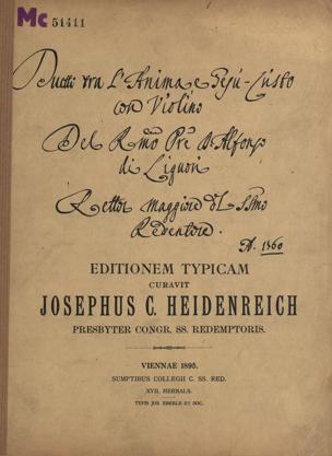 Recitativo e Duetto tra l'anima e Gesù-Christo : (1696-1787) / S.Alfonso de Liguori von Alfonso Maria de' Liguori
