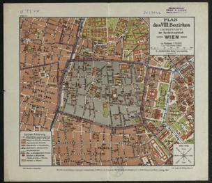 Plan des VIII. Bezirkes (Josefstadt) der Bundeshauptstadt Wien