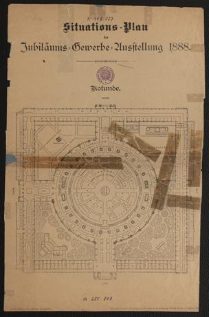 Situations-Plan der Jubiläums-Gewerbe-Ausstellung 1888 : Rotunde ; Parkanlagen