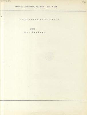 Vorlesung Karl Kraus