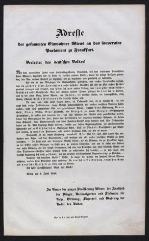 Adresse der gesammten Einwohner Wiens an das souveraine Parlament zu Frankfurt. Vertreter des deutschen Volkes! : Wien am 8. Juni 1848