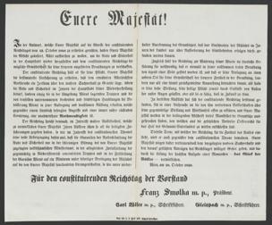 Euere Majestät! : In der Antwort, welche Euere Majestät auf die Adresse des constituirenden Reichstages vom 13. October 1848 zu ertheilen geruhten, haben Euere Majestät die Absicht geäußert, Alles aufbiethen zu wollen um die Ruhe und Sicherheit in der Hauptstadt wieder herzustellen und dem constituirenden Reichstage die mögliche Gewährschaft für seine ferneren ungestörten Berathungen zu verschaffen ... ; Wien, am 18. October 1848
