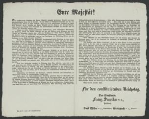 Eure Majestät! : Der konstituirende Reichstag hat Euerer Majestät niemahls sprechendere Beweise von seiner unerschütterlichen Treue für die Freiheit, für das Wohl des Gesammtvaterlandes und für den konstitutionellen Thron zu geben vermocht, als er sie in der aufopfernden Thätigkeit der letzten Tage darlegte ... ; Wien den 15. October 1848