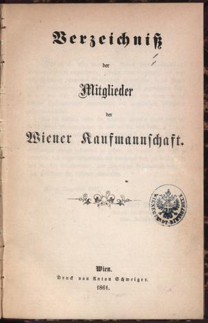 Verzeichniß der Mitglieder der Wiener Kaufmannschaft