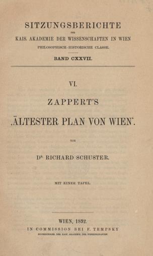 """Zappert's """"Ältester Plan von Wien"""" von Schuster, Richard ()"""