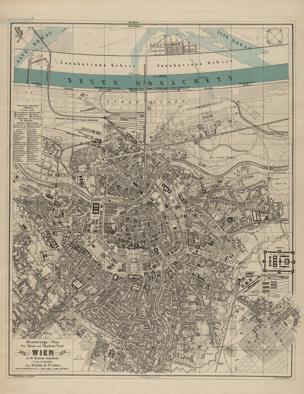 Neuester Orientirungs- und Strassen- Plan von Wien mit Theilen der angrenzenden Vororte, so wie einer genauen Uebersicht der Donau-Regulirung und der projectirten Donau-Stadt