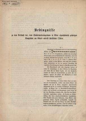 Bedingnisse zu dem Verkaufe der, dem Stadterweiterungsfonde in Wien eigenthümlich gehörigen Baugründe am Glacis mittelst schriftlicher Offerte