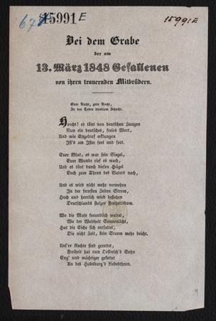 Bei dem Grabe der am 13. März 1848 Gefallenen von ihren trauernden Mitbrüdern : [Julius Scheda, Jurist im 3. Jahre. Gedichtet auf der Wache in der Villa Metternich] von Scheda, Julius