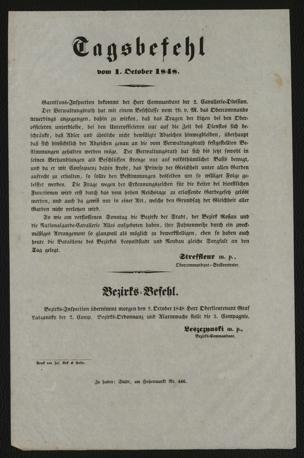 Tagsbefehl vom 1. October 1848 : Garnisons-Inspection bekommt der Herr Commandant der 2. Cavallerie-Division. Der Verwaltungsrath hat mit einem Beschlusse vom 29. v. M. das Obercommando neuerdings angegangen, dahin zu wirken, daß das Tragen der Litzen bei den Oberofficieren unterbleibe ...