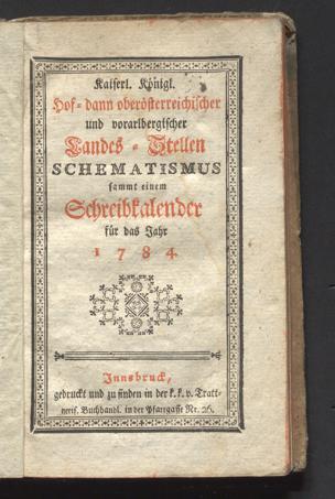Kaiserl. Königl. Hof-, dann oberösterreichischer und vorarlbergischer Landes-Stellen-Schematismus sammt einem Schreibkalender für das Jahr ...