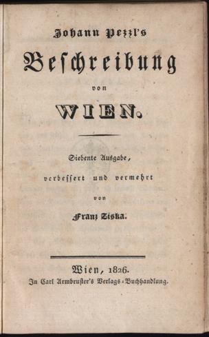 Beschreibung von Wien von Pezzl, Johann ()
