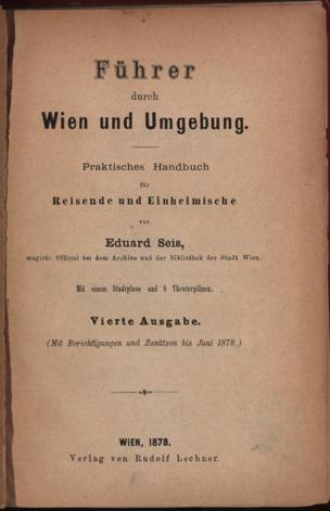 Führer durch Wien und Umgebung : praktisches Handbuch für Reisende und Einheimische von Knoll, Eduard ()