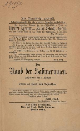Raub der Sabinerinnen : Schwank in 4 Akten von Schönthan, Franz von ()