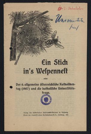 Stich in's Wespennest oder Der 6. allgemeine österreichische Katholikentag (1907) und die katholische Universitätsfrage