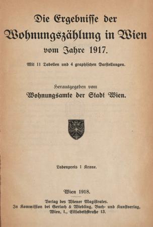 Ergebnisse der Wohnungszählung in Wien vom Jahre 1917