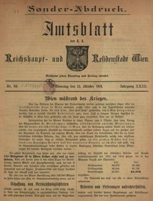 Wien während des Krieges : [Sonder-Abdruck ; in 33 Folgen]