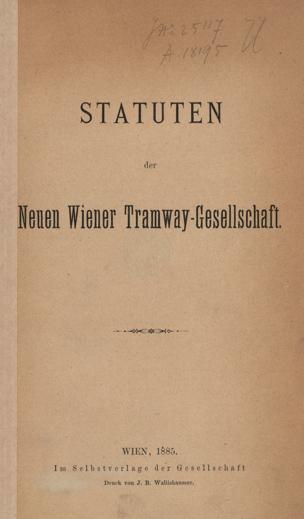 Statuten der Neuen Wiener Tramway-Gesellschaft