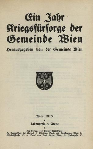 Jahr Kriegsfürsorge der Gemeinde Wien