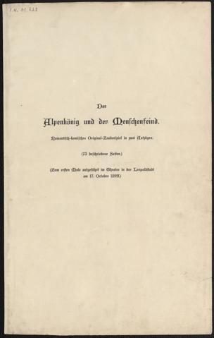 Alpenkönig und der Menschenfeind : Romantisch-komisches Original-Zauberspiel in 2 Aufzügen von Raimund, Ferdinand ()