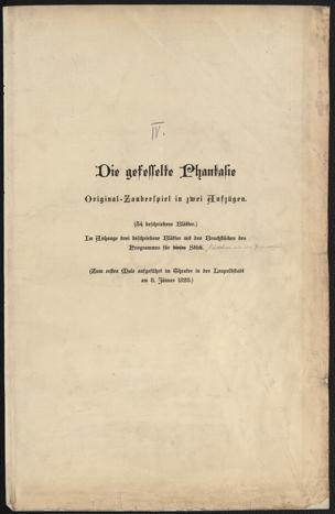 gefesselte Phantasie : Original-Zauberspiel in 2 Aufzügen von Raimund, Ferdinand ()