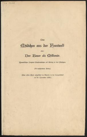 Mädchen aus der Feenwelt, oder: Der Bauer als Millionär : Romantisches Original-Zaubermärchen mit Gesang in 3 Aufzügen von Raimund, Ferdinand ()